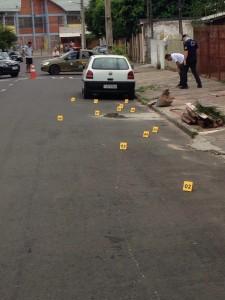 Foto: Divulgação/Polícia Civil  Sapucaia do Sul: perícia e policiais encontraram pelo menos 11 estojos de calibre 9 milímetros
