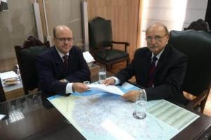 Schirmer em encontro oficial com o secretário de Segurança Pública do Estado, Wantuir Jacini Foto: Felipe Pires / Assessoria de Imprensa da prefeitura de Santa Maria