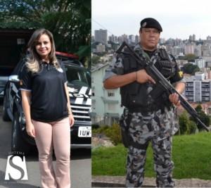 O sargento Nilo Rodrigues, da Brigada Militar, e a escrivã da Polícia Civil, Jordana Fisch