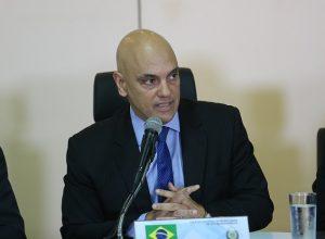 O ministro da Justiça, Alexandre de Moraes, em reunião de secretários estaduais da Segurança Pública