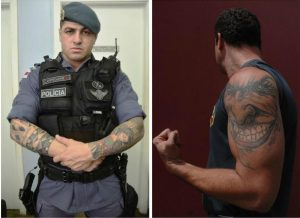 O tenente Francisco Carpegiane já foi criticado por conta das tatoos (Foto: Antonio Lima). O cabo da PM Michael Manguinho: seis tatuagens inclusive do Coringa (Foto: Antônio Menezes)