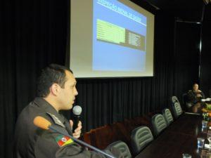 Capitão Rodrigo falou a policiais durante encontro na Feevale