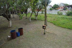 Parte do gramado já está limpo e cortado