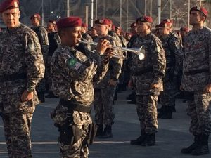 Tropas da Força Nacional de Segurança ficaram responsáveis pela segurança do Parque Olímpico, na Barra da Tijuca (Foto: Cristina Boeckel / G1)